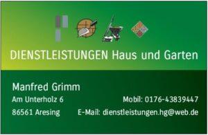Dienstleistungen Haus und Garten - Visitenkarte